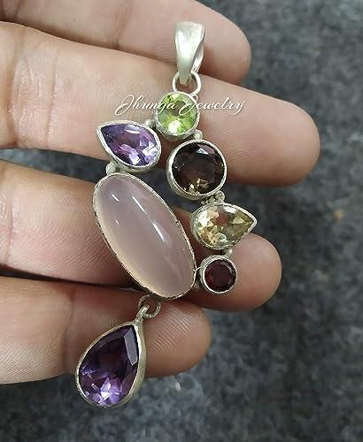 Multi Gemstone Necklace with Rose Quartz Pendant