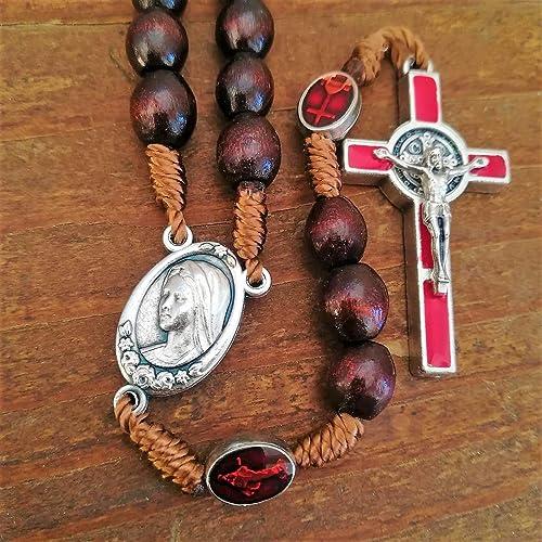 Amazoncom Wooden Rosaryred Enamel Catholic Charmshandmade