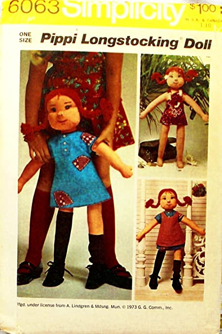 Amazon Simplicity 6063 Rag Doll Pattern Pippi Longstocking