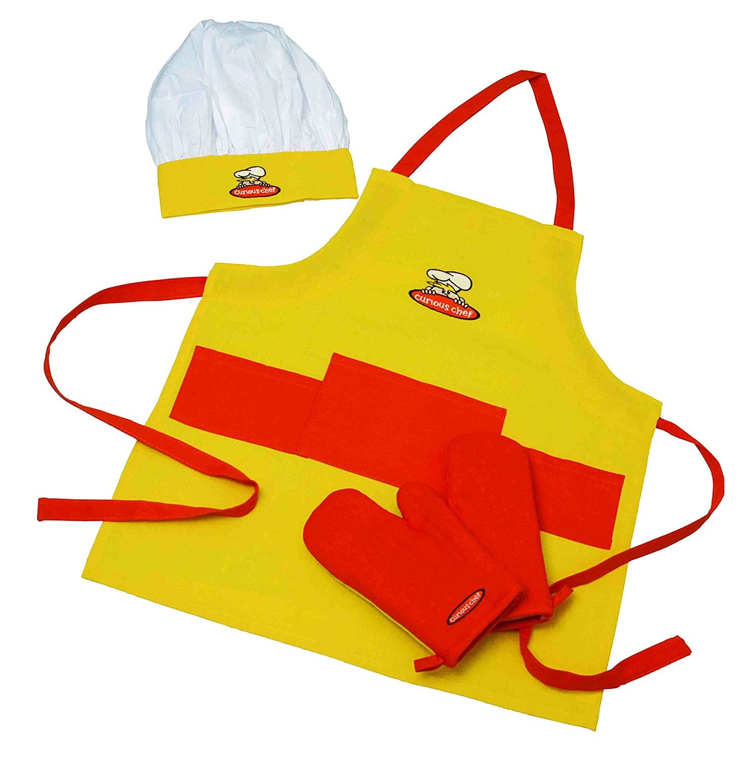 Curious Chef, 4-Piece Child Chef Textile Set for Girl or Boy Inc Tailor Made Products TCC50071