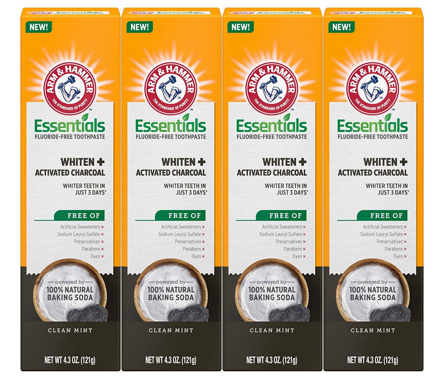 Arm & Hammer Essentials Whiten & Activated Charcoal Fluoride Free Toothpaste, 4.3 OZ, 4 Pack
