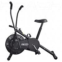 Reach Air Bike Exercise Cycle with Moving Handles, Adjustable Cushioned Seat, Best Cardio Fitness Machine for Weight Loss
