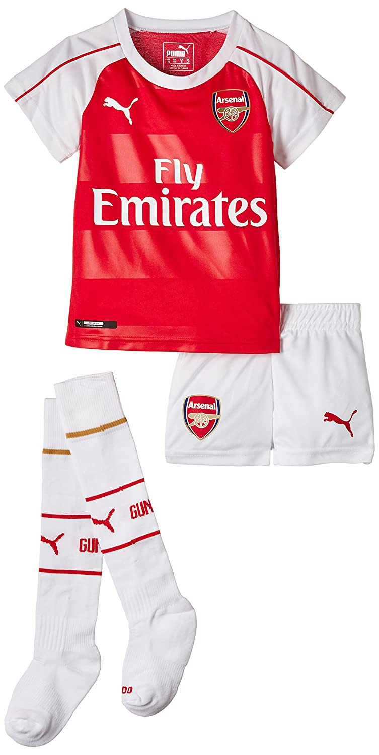 Puma Boy's Arsenal Home Mini Kit with Hanger and Sponsor Red High Risk Red-White-Victory Gold 748028 01