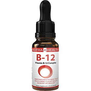 Vitamin B12 Drops Vegan Safe Supplement - Sublingual Liquid - Strong Stress Vitamine Boost Energy Levels
