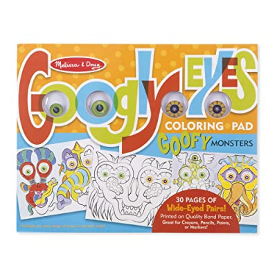 Melissa & Doug Googly Eyes 30-Page Coloring Art Pad - Goofy Monsters (11x17 Inches): Toys & Games