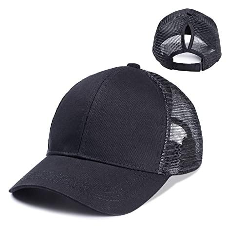 3a7a85fdd7c4b OUO Ponytail Hat Womens Ponycaps Messy High Bun Cute Cool Style Mesh  Baseball Hat Ponytail Caps (Black) at Amazon Women s Clothing store