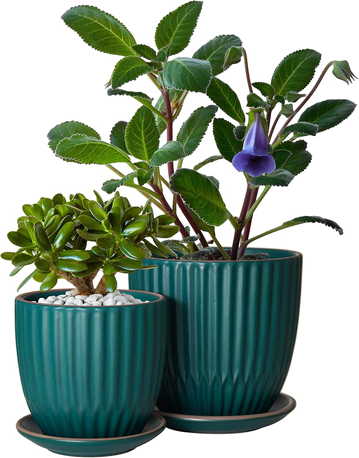 Set Of 2 Stoneware Planter Pot Ceramic Pot With Drainage Hole And Saucers 4 Inch 6 Inch Teal Blue Kitchen Dining
