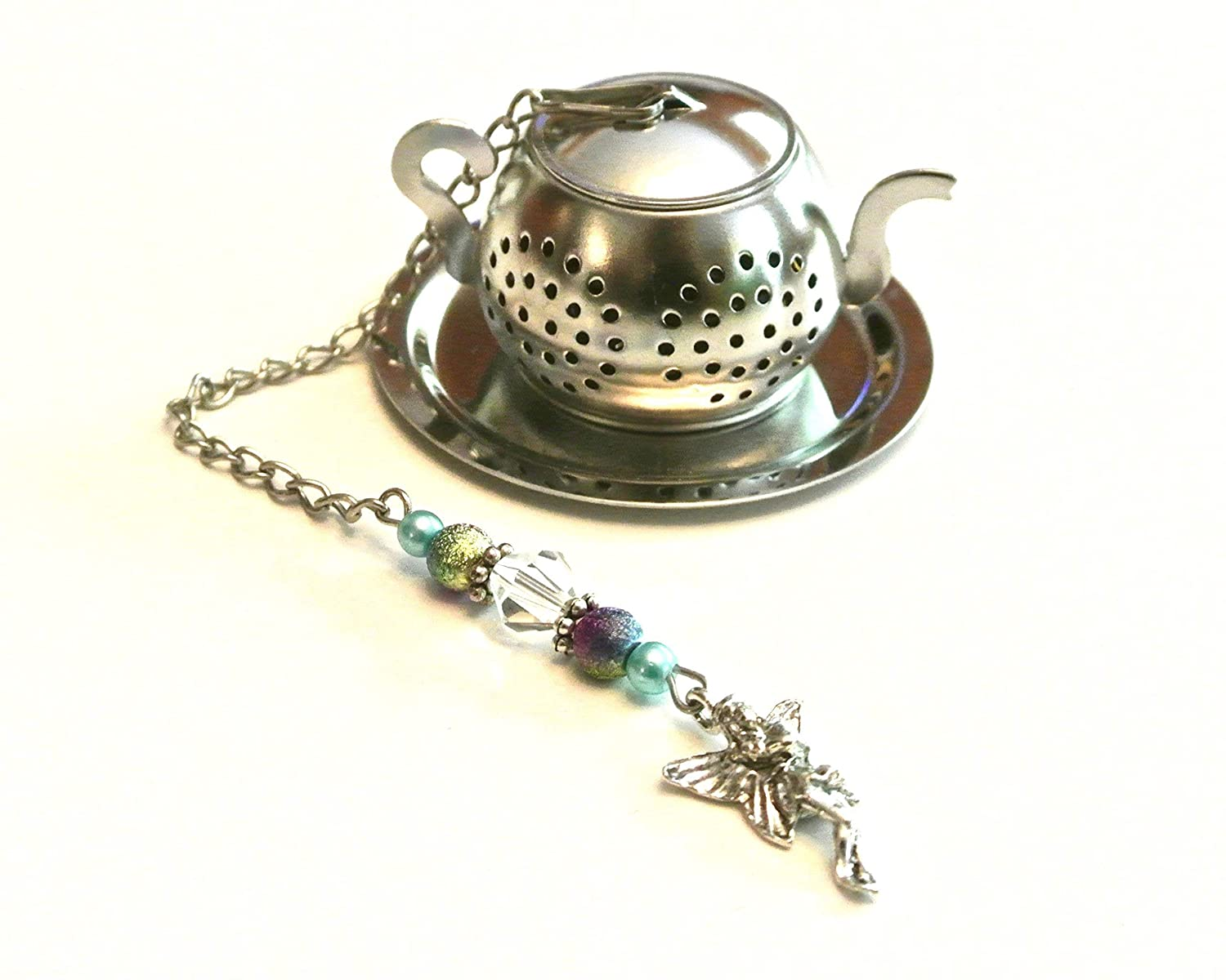 Fairy Charm Tea Infuser with Purple & Turquoise-Blue Colored Beads