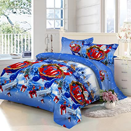 anself 4pcs christmas bedding sets bed sheet quilt cover pillow case queen - Christmas Bedding Sets