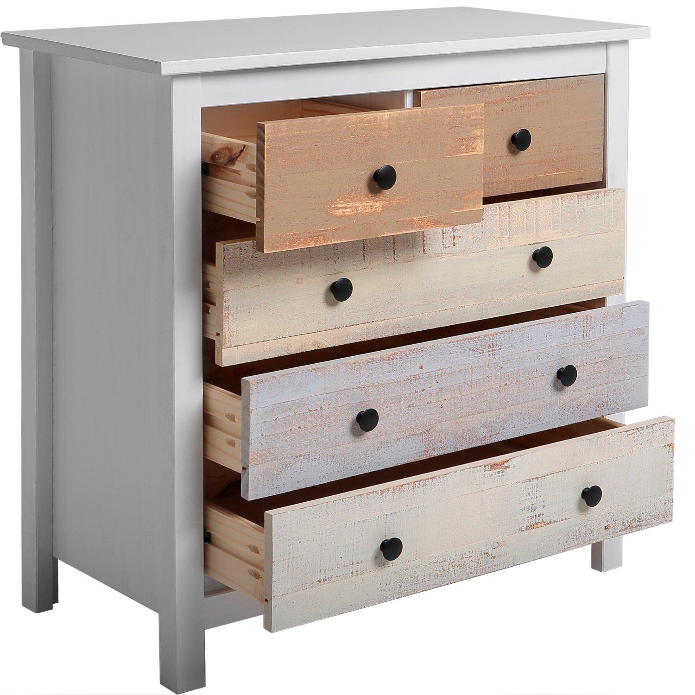 VS Venta-stock Kommode 5 Schubladen in in in weiß und mehrfarbige Schubladen 31df56