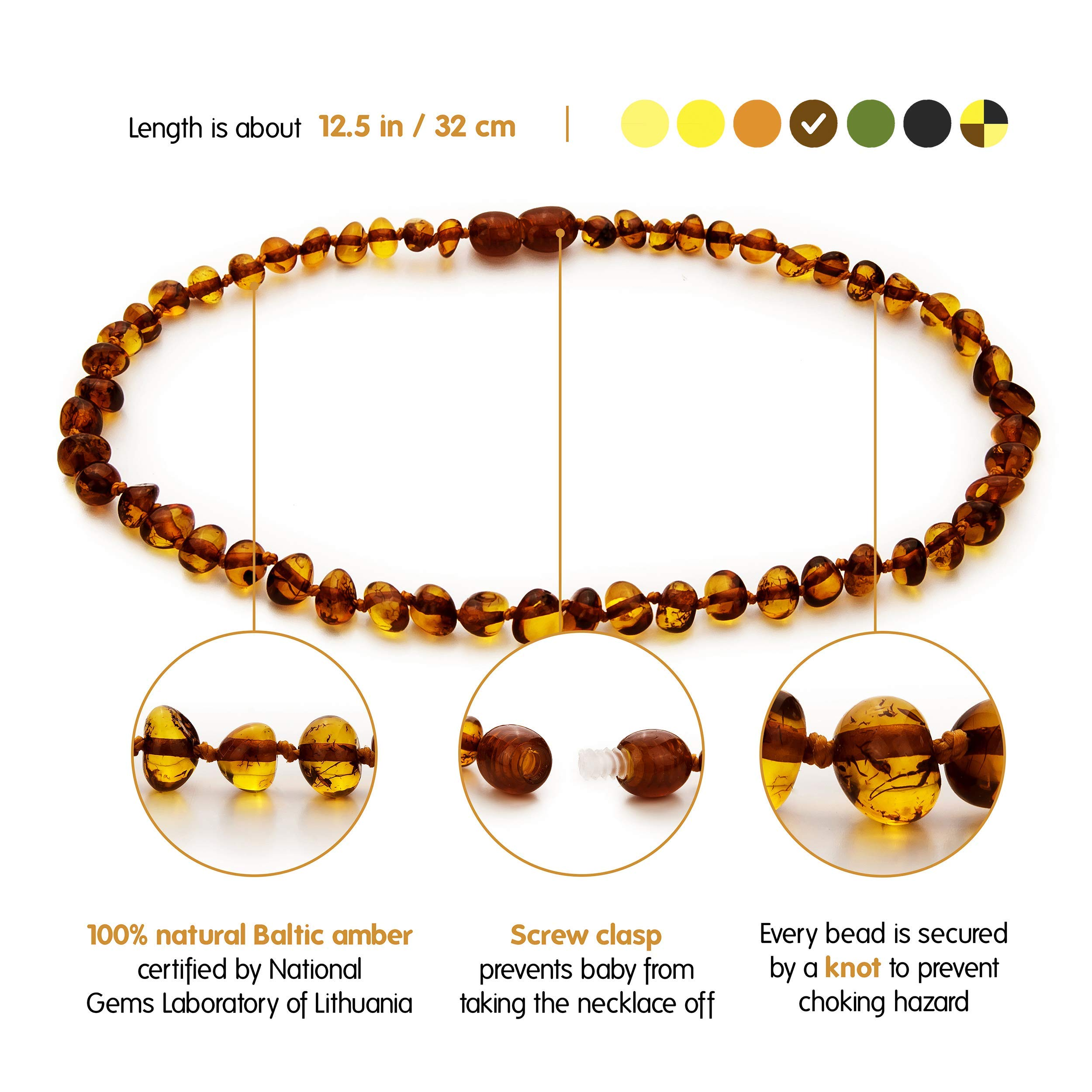 Baltic Amber Teething Necklace Unisex Anti Flammatory Drooling /& Teething Pain