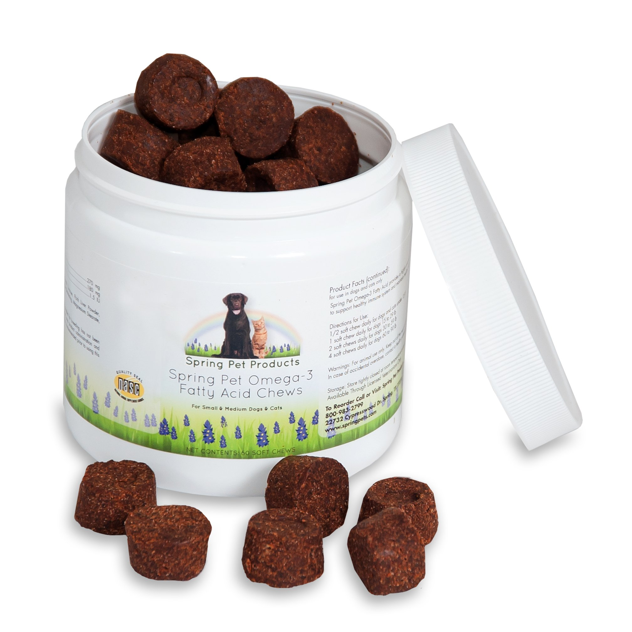Spring Pet Omega 3 Fatty Acid Chews - Natural Fish Oil Pet Supplememt Treat For Healthy and Shiny Skin and Coat - Support Joints, Bones and Brain Function (60)