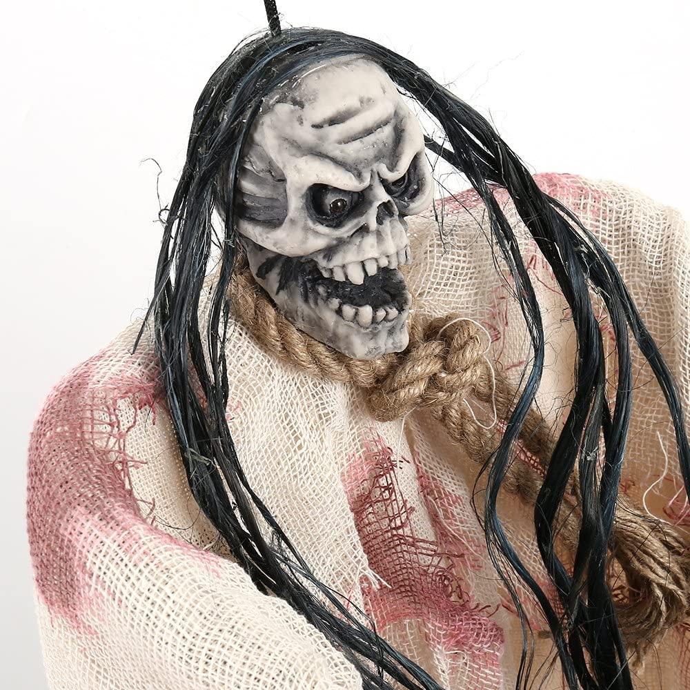 Gray 35Inch Halloween Ghost Prop Decorations Animated Hanging Caged Prisoner Skeleton Skull Glowing Red Eyes Scary Voice Sound for Haunted House Party Indoor Outdoor D/écor