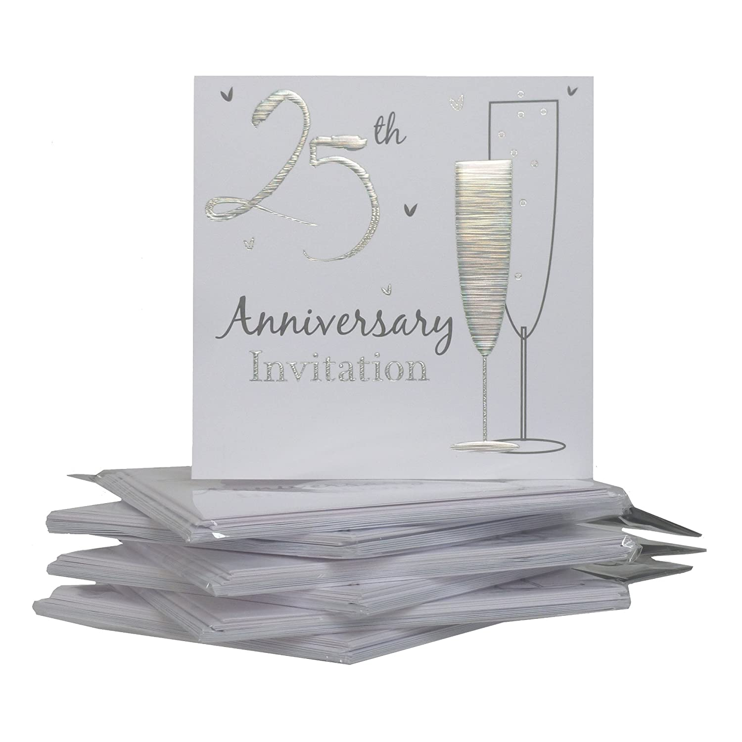 25th Silver Wedding Anniversary Party Invitations {Holographic} 36 ...