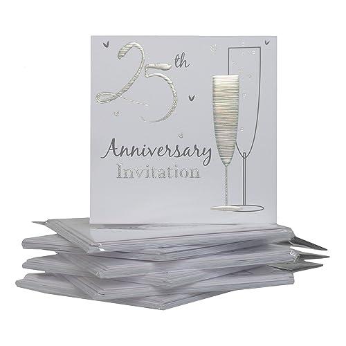 Silver Wedding Invitations Amazon: 25th Wedding Anniversary Invitations: Amazon.co.uk