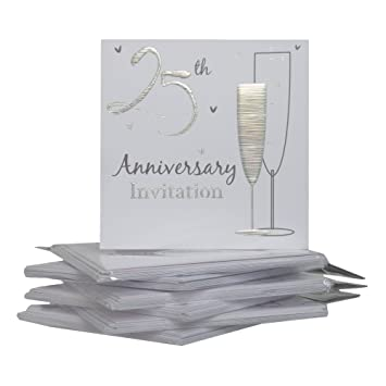 25th Silver Wedding Anniversary Party Invitations {Holographic} 36 Cards with Envelopes