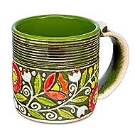 H-line HANDMADE Unique 3D Ceramic funny morning diner big/half coffee Chai Tea Cup Mug 14,5Oz. Birthday gift ideas for him, her, mom, women, grandma couples home Thanksgiving Christmas gifts (Green B)