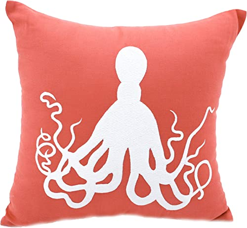 KainKain Beach Theme Pillow Cover Orange White, Octopus Handmade Embroider Cushion Couch Cover, Nautical Coastal Nursery Home D cor 24 inch x 24 inch