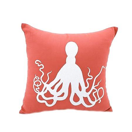 KainKain Beach Theme Pillow Cover Orange White, Octopus Handmade Embroider Cushion Couch Cover, Nautical Coastal Nursery Home D cor 18 inch x 18 inch