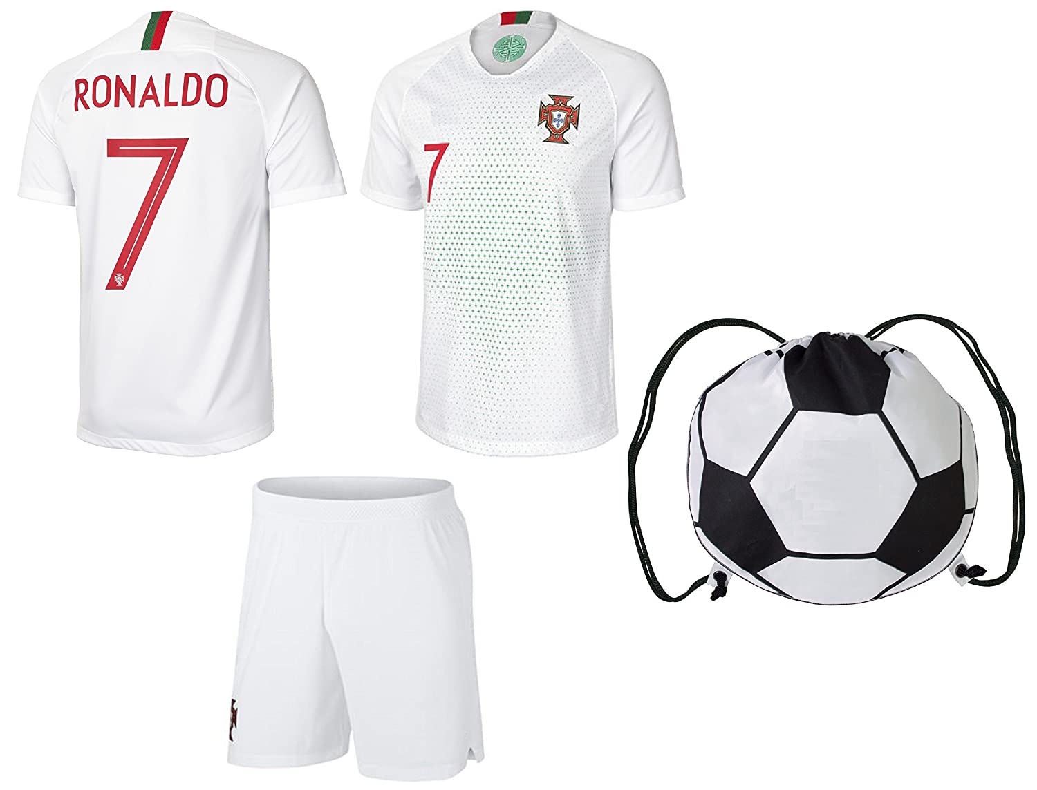 Portugal AwayブラックRonaldo Kids # 7サッカーキットJersey and Free Shortsすべてユースサイズ B07CSL1W97Kids XSmall 4-6 years of age