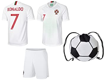 new style a26bf fcecf prtfc Cristiano Ronaldo Portugal #7 Away Kids Soccer Jersey and Shorts  World Cup Kit All Youth Sizes