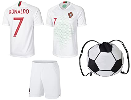 548ce84dd prtfc Cristiano Ronaldo Portugal #7 Away Kids Soccer Jersey and Shorts  World Cup Kit All Youth Sizes