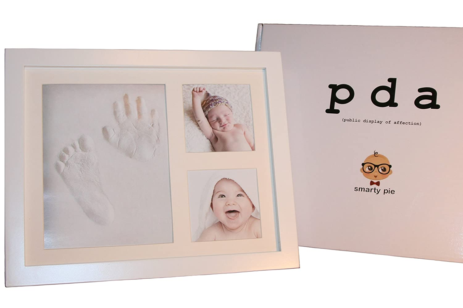 SMARTY PIE - Baby Hand Print and Footprint Picture Frame Kit - White Wood Frame To Hang On The Wall Or Set On A Table - Stylish Baby Shower, Child's First Birthday, or Christmas Gift - Non-Toxic Clay Child' s First Birthday SP-WF1