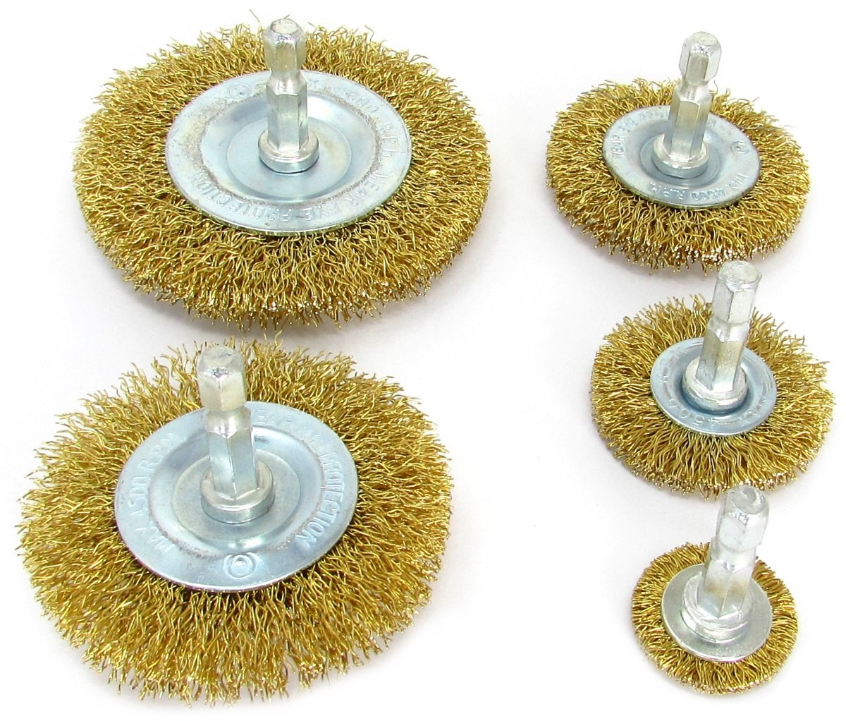 5pk Circular Wire Wheel Brush Attachment Set for Drill, Brass Coated Bristles by LINE10 Tools