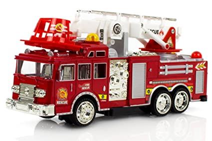 Fire Engine Truck Kids Toyl Kids Toy With Extending Ladder Lights Siren Sounds Vocal Phrases Bump Go Action