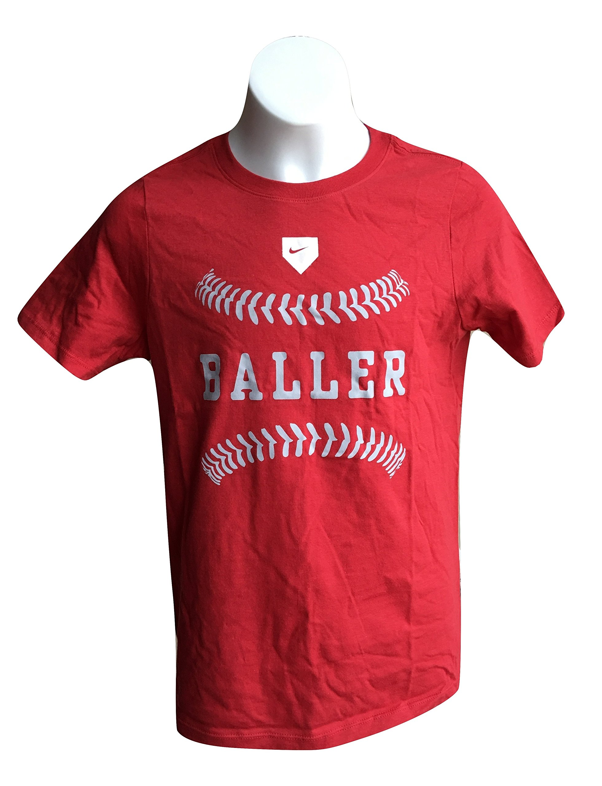 Nike Boy's Graphic Tee Shirt Baller Red Crewneck T-Shirt 943057-657 Medium