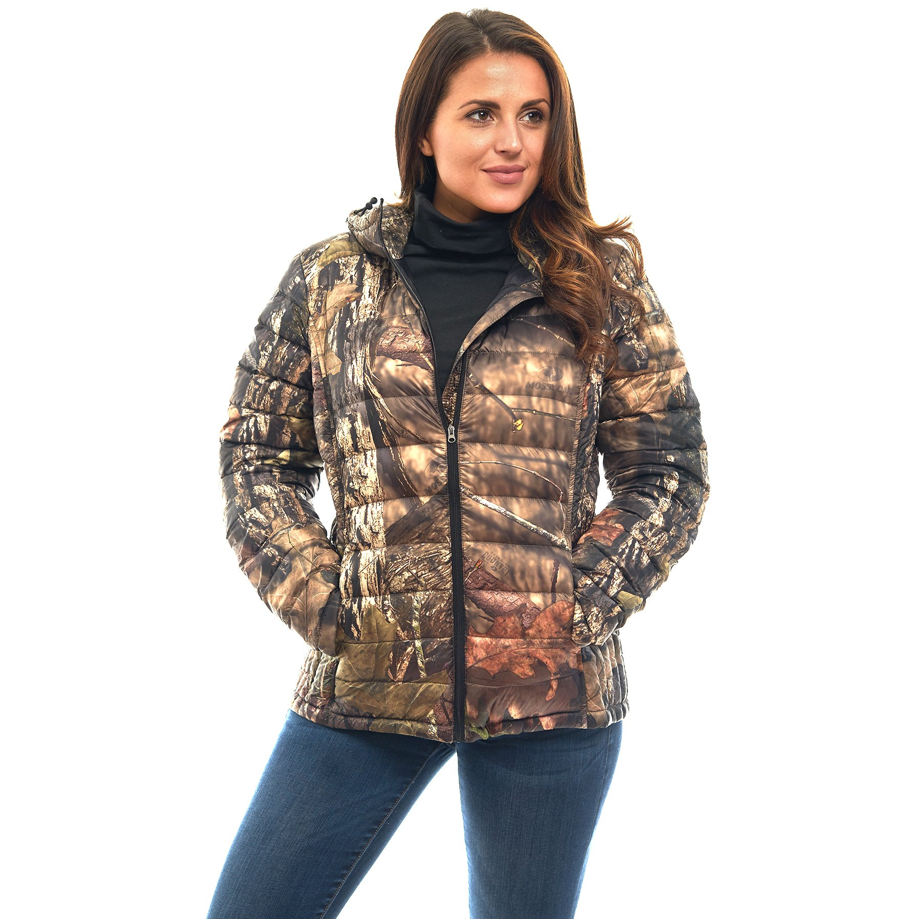 TrailCrest Women's Packable Ultra Lightweight Down Jacket, Outdoor Puffer Coats, Mossy Oak Break-Up Country Camo (X-Small)