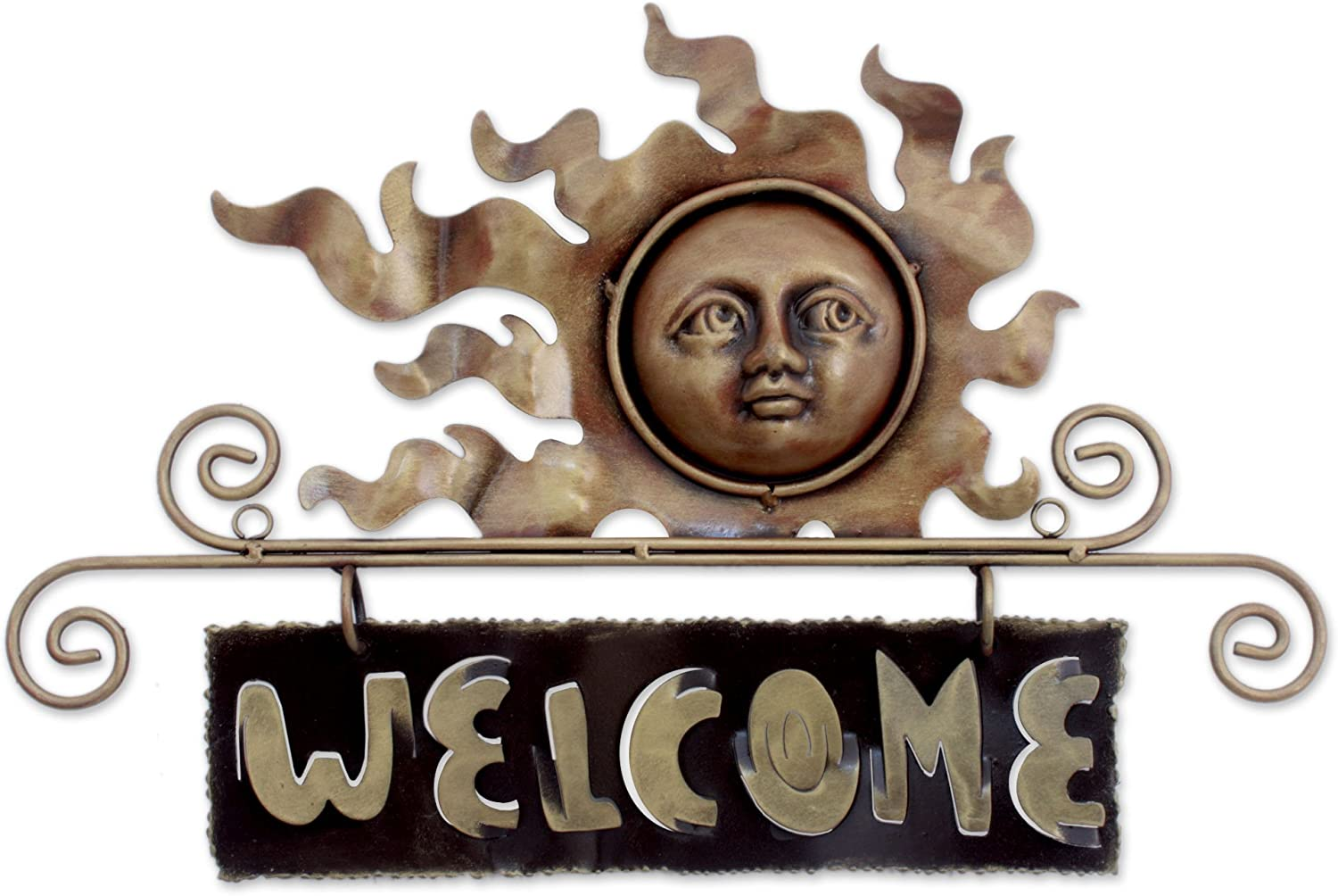 Metallic Peaceful Welcome NOVICA Sun and Moon Steel Welcome Sign