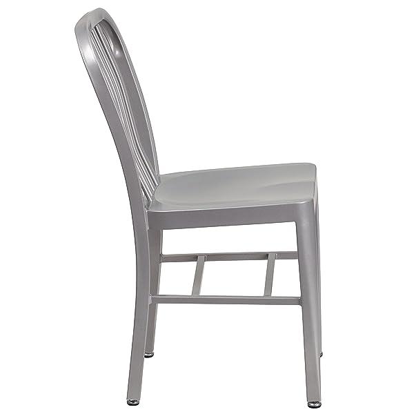 Flash Furniture 2 Pk. Silver Metal Indoor-Outdoor Chair