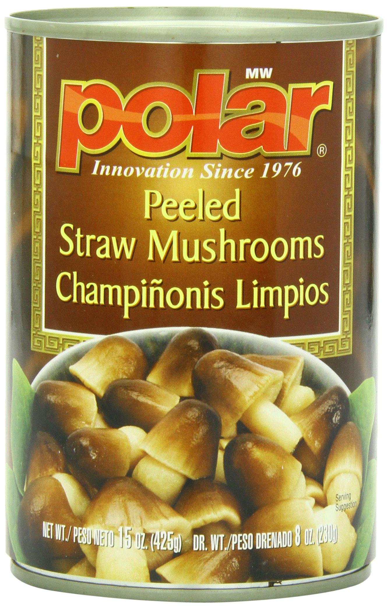 MW Polar Mushrooms, Peeled Straw Mushrooms, 15-Ounce (Pack of 12)