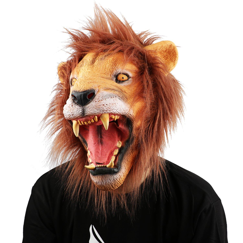 XIAO MO GU Masque de Tête d'animal Lion en Latex, Masque Décorations de Costumes Halloween Party pour Adulte product image