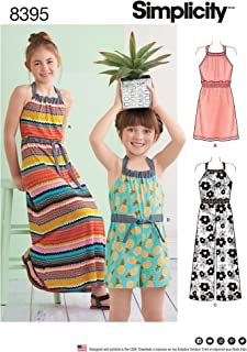 product image for Simplicity Girl's Romper and Halter Dress Sewing Patterns, Sizes 7-14