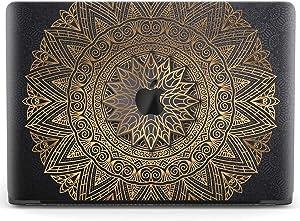 Mertak Hard Case for Apple MacBook Pro 16 Air 13 inch Mac 15 Retina 12 11 2020 2019 2018 2017 Black Gold Touch Bar Flower Luxury Indian Clear Cover Laptop Mandala Plastic Print Design Bohemian