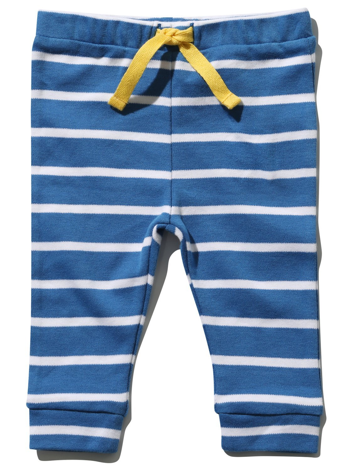 M& Co Newborn Boy 100% Cotton Blue White Stripe Stretch Waist Cuffed Ankle Drawstring Tie Joggers