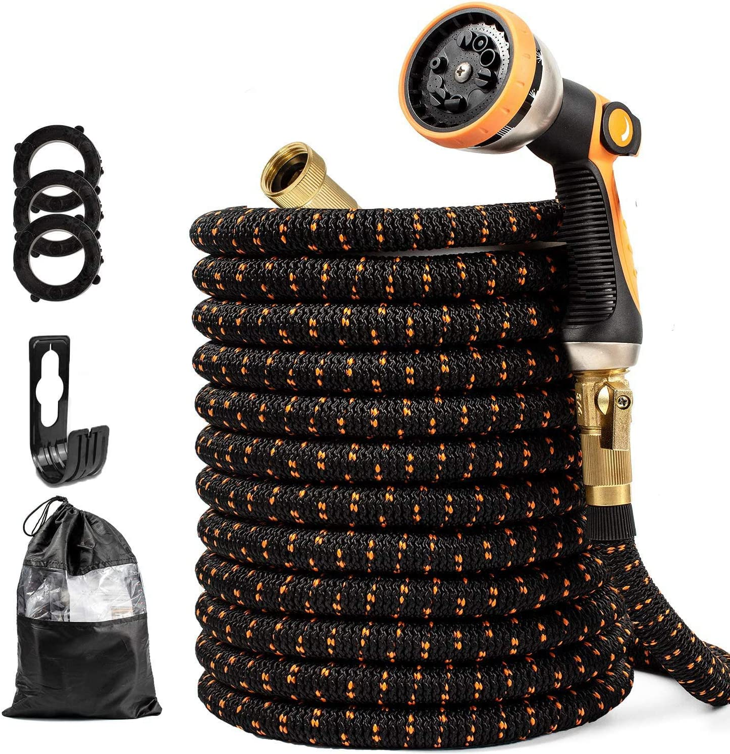 Upgraded Expandable Garden Hose 25 FT with 10 Function Nozzle, Strongest Four Layer Latex Core, All Solid No-Rust Brass Connectors - Easy to Use and Store, Lightweight Flexible Kink Free Water Hose