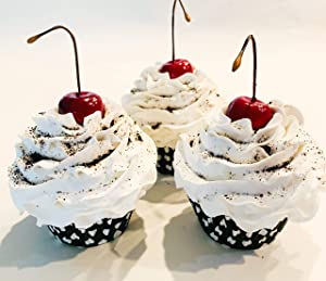 Dezicakes Fake Cupcakes Cookies & Cream Faux Cupcakes- Fake Food Display Set of 3- Home Decor, Party Favors, Decoration