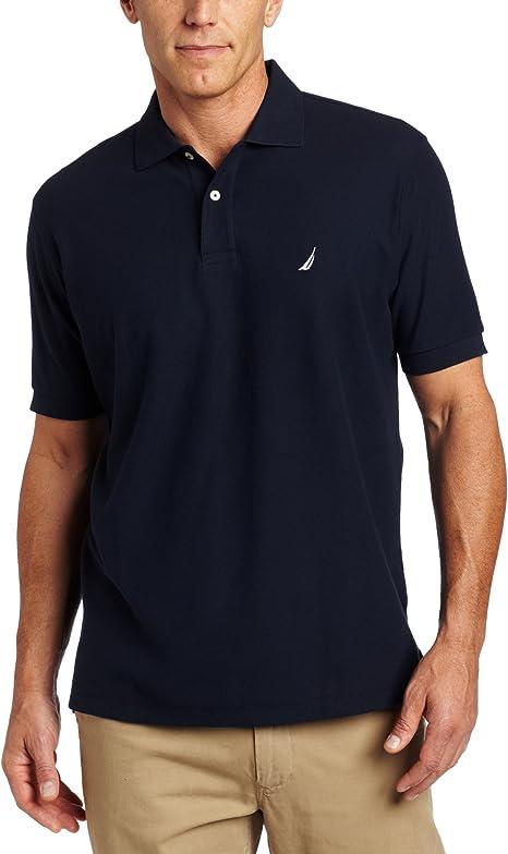 Nautica Mens Short Sleeve Solid Stretch Cotton Pique Polo Shirt