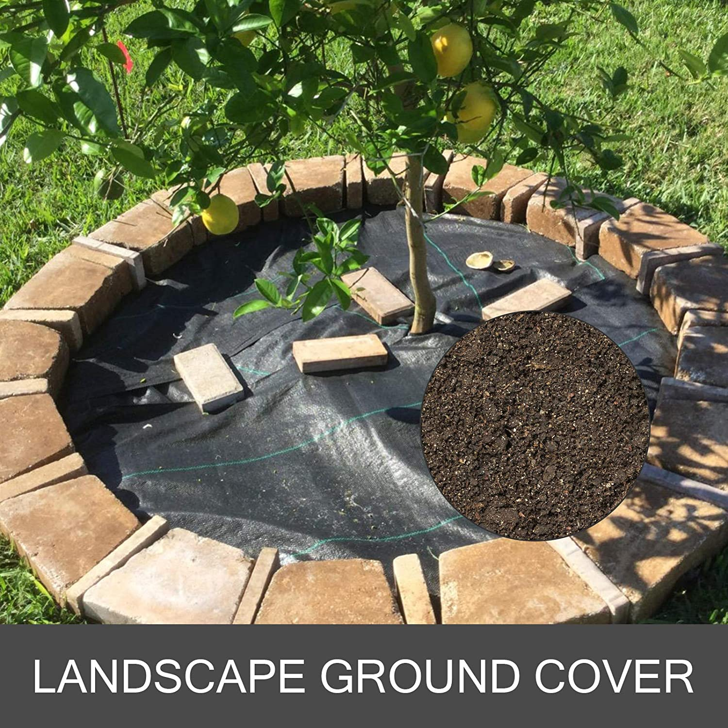 Happybuy Landscape Fabric 6.5ft x 330ft 3.2oz Garden Weed Barrier Heavy Duty Polypropylene Black Ground Cover Weed Barrier for Soil Erosion Control Weed Reduce