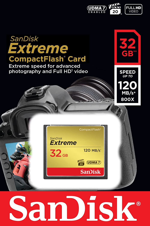 SanDisk Extreme 64GB CompactFlash UDMA7 Speicherkarte bis zu 120MB//s lesen