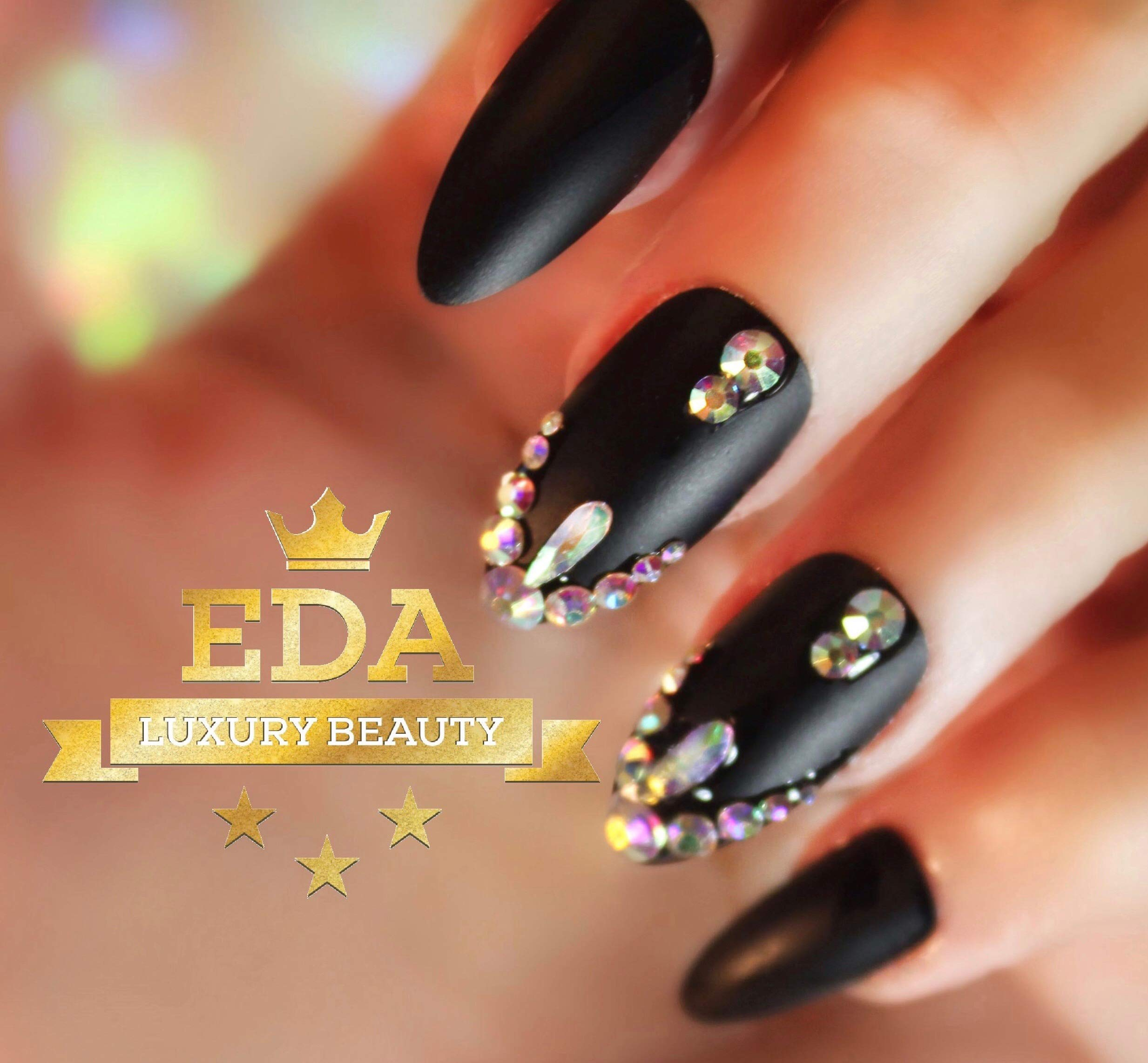 EDA Luxury Beauty Matte Black 3D Ultimate Glamorous Jewel Design Gel Glitter Full Cover Press On Artificial Tips Perfect False Nails Extra Long Oval Round Almond Stiletto Super Glam Fashion Fake Nails by EDA LUXURY BEAUTY