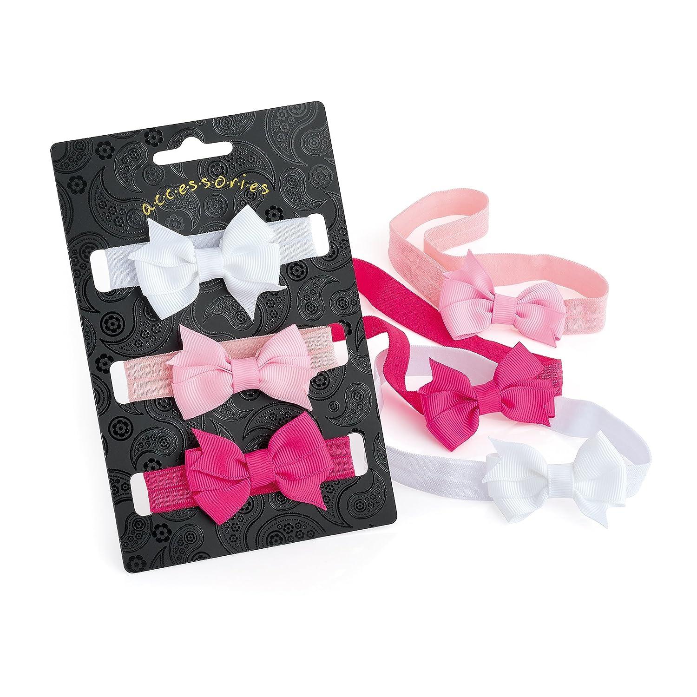 Baby Girls Headbands 3x Elastic Headbands w ribbon Hair Bow (Hair Band) 974fe3828a6