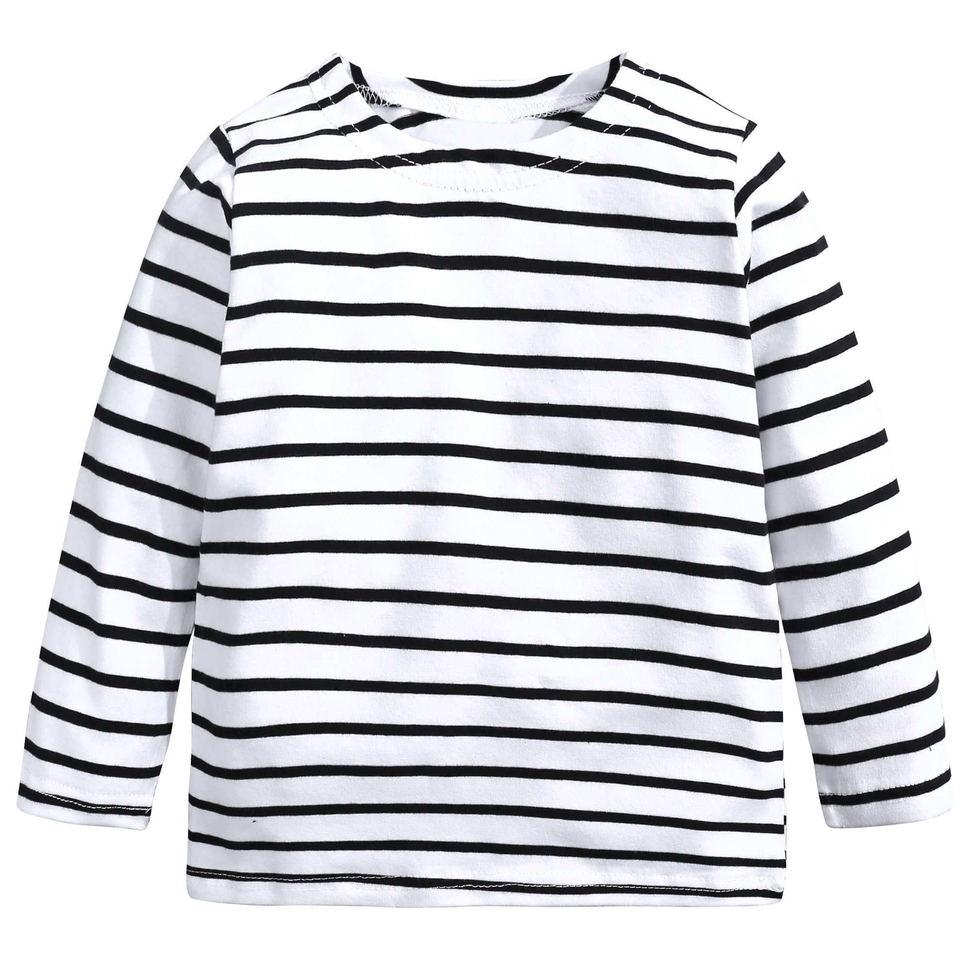 Baby Kids Boys Girls Star Striped Long Sleeve O Rong BFF T-Shirt Tee,White-striped,80(2T) by Mary ye