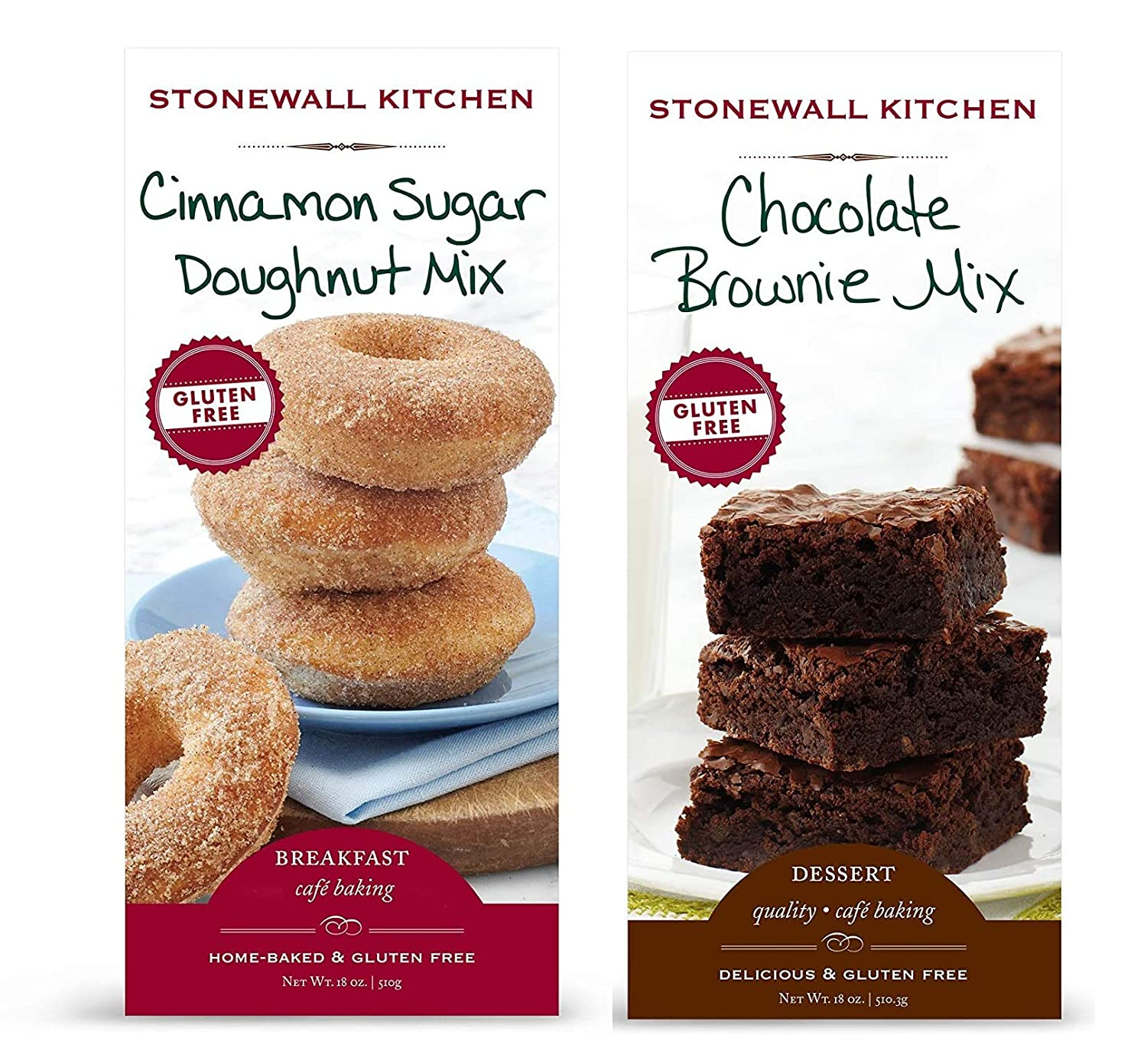 Stonewall Kitchen Gluten Free Gourmet Sweets Mix Bundle - Includes One 18 ounce Box Each of Stonewall Kitchen Gluten Free Chocolate Brownie Mix and Cinnamon Sugar Doughnut Mix