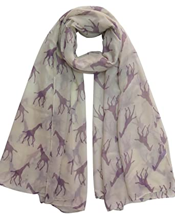 a8e648ec368a Lina   Lily Écharpe Foulard pour Femme Imprimé Girafe (Beige)  Amazon.fr   Vêtements et accessoires