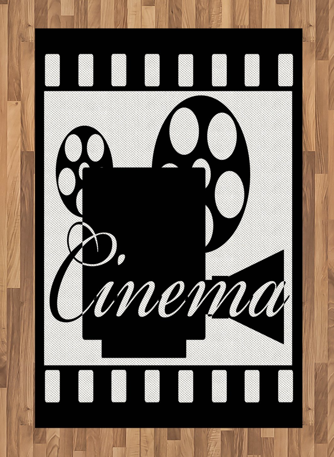 Ambesonne Movie Theater Area Rug, Monochrome Cinema Projector Inside a Strip Frame Abstract Geometric Pattern, Flat Woven Accent Rug for Living Room Bedroom Dining Room, 4 X 5.7 FT, Black White