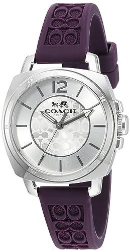 Coach Womens 14502091 Mini Boyfriend Signature Purple Strap Silver Tone Watch